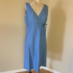 Ann Taylor Blue 💯 Silk Dress V neck